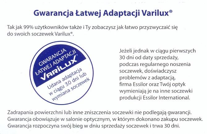 gwarancja adaptacji Varilux