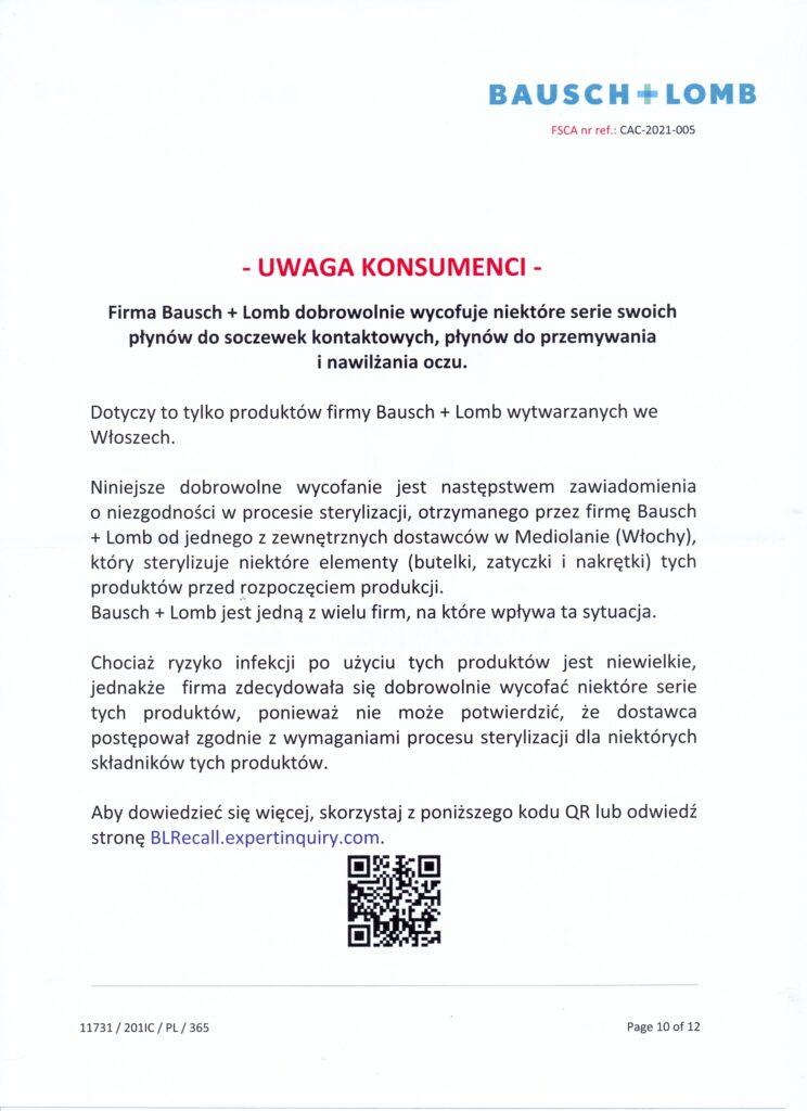 Płyny Bausch&Lomb BioTrue wycofywane z rynku